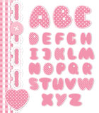 Retro scrapbook font pink color. Cartoon alphabet from a to z. Editable vector set Royalty Free Stock Image