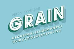 Retro scratched 3d display font design, alphabet, letters Royalty Free Stock Images