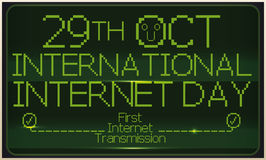 Retro Screen Commemorating First Transmission at International Internet Day, Vector Illustration. Banner with retro pixel screen with reminder date for Royalty Free Stock Photography