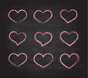 Retro scribble grunge chalk vector heart symbols Royalty Free Stock Photos