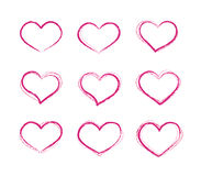 Retro scribble grunge vector heart symbols set Royalty Free Stock Images