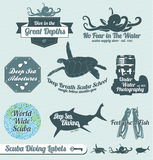 Retro Scuba Diving Labels and Stickers. Collection of vintage style scuba diving labels labels and badges Royalty Free Stock Photography