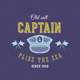 Retro Sea Captain Vector Label or Logo Template Royalty Free Stock Image