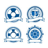 Retro sea stamps set. Lifebuoy, anchor and steering wheel Royalty Free Stock Photos