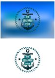 Retro seafarer banner with vintage anchor Royalty Free Stock Photos
