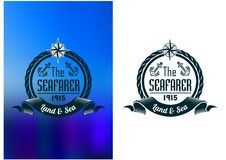 Retro seafarer tattoo or marine banner. With  banner, rope, anchors and compass, over blue water background Royalty Free Stock Image