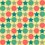Retro seamless abstract pattern - star alternating circle in mut Royalty Free Stock Image