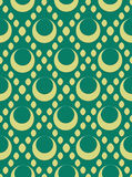 Retro seamless circles. 1960s and 1970s style repeating circle pattern on a teal blue green background (wallpaper, fabric, material, wrapping paper Royalty Free Stock Photo