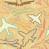 Retro seamless civil planes pattern. EPS vector. Retro seamless civil planes and cities pattern. EPS vector image royalty free illustration