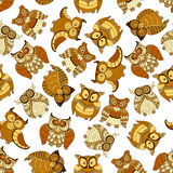 Retro seamless cute owls birds pattern background Stock Photos