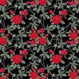 retro seamless för blom- modell Röda rosor på en svart bakgrund stock illustrationer