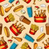 Retro seamless fast food chicken menu pattern Stock Image