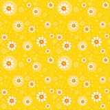 Retro seamless floral background. Retro yellow seamless background with cute flowers Stock Image