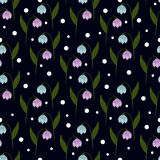 Retro seamless floral pattern on black background with Royalty Free Stock Image