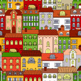 Retro seamless houses of old town streets pattern Royalty Free Stock Photos