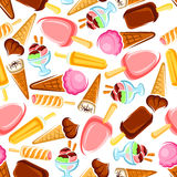 Retro seamless ice cream and popsicles pattern. Retro seamless pattern of colorful ice cream on white background for cafe interior or fabric design with Royalty Free Stock Photography
