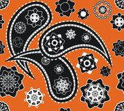 Retro seamless indian paisley vector pattern royalty free stock photo