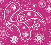 Retro seamless indian pink paisley vector pattern Stock Photo