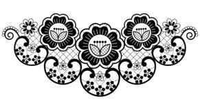 Retro seamless lace vector design - black and white detailed vector wedding lace pattern with flowers and swirls, symmetric orname stock photography