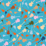 Retro Seamless Music Background with Guitars Royalty Free Stock Images