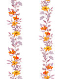 Retro seamless naive floral frame strip. Vintage cute flowers and leaves. Watercolour. Retro seamless naive floral frame strip. Vintage cute flowers and leaves Royalty Free Stock Photos