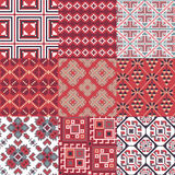 9 retro seamless ornaments. For textile, wallpaper, wrapping, web backgrounds etc Royalty Free Stock Photo