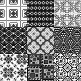 9 retro seamless ornaments. For textile, wallpaper, wrapping, web backgrounds etc Royalty Free Stock Photography