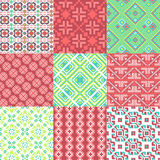 9 retro seamless ornaments Royalty Free Stock Photos