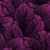 Retro seamless pattern with abstract doodle leaves Stock Image