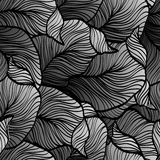 Retro seamless pattern with abstract doodle leaves Royalty Free Stock Photography