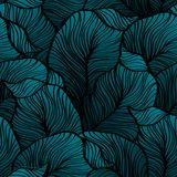 Retro seamless pattern with abstract doodle leaves Royalty Free Stock Photos