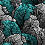 Retro seamless pattern with abstract doodle leaves Royalty Free Stock Images