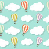 Retro Seamless Pattern with Air Balloons Vector Royalty Free Stock Image