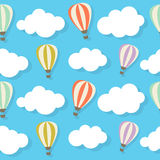 Retro Seamless Pattern with Air Balloons Vector Royalty Free Stock Photo