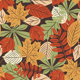 Retro seamless pattern with autumn leaves Royalty Free Stock Photo