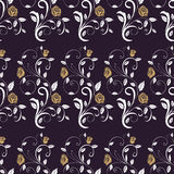Retro seamless pattern branches roses. Stock Photos
