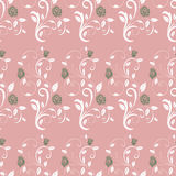 Retro seamless pattern branches roses. Royalty Free Stock Photography