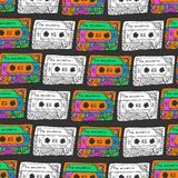Retro seamless pattern with cassettes. Hipster fun style. Doodle musical background for wrapping, fabric, textile Royalty Free Stock Image
