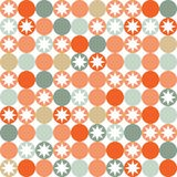 Retro seamless pattern with circles and stars. Royalty Free Stock Photo