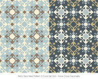 Retro Seamless Pattern 2 Color Set_063 Arrow Cross Geometry Royalty Free Stock Photos