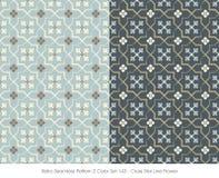 Retro Seamless Pattern 2 Color Set_143 Cross Star Line Flower Stock Photography