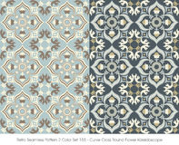 Retro Seamless Pattern 2 Color Set_155 Curve Cross Round Flower Royalty Free Stock Photos