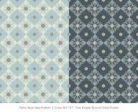 Retro Seamless Pattern 2 Color Set_157 Fan Shape Round Cross Flo Royalty Free Stock Image
