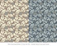 Retro Seamless Pattern 2 Color Set_394_Garden Spiral Cross Leaf Flower Stock Photos