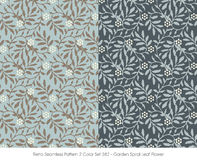 Retro Seamless Pattern 2 Color Set_382_Garden Spiral Leaf Flower Royalty Free Stock Image
