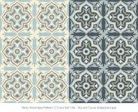 Retro Seamless Pattern 2 Color Set_146 Round Curve Kaleidoscope Royalty Free Stock Photography