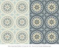 Retro Seamless Pattern 2 Color Set_144 Round Dot Flower Kaleidos Royalty Free Stock Images