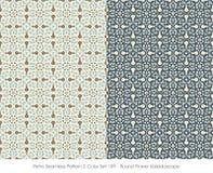 Retro Seamless Pattern 2 Color Set_159 Round Flower Kaleidoscope Stock Photography