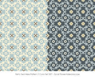 Retro Seamless Pattern 2 Color Set_087 Spiral Flower Kaleidoscop Royalty Free Stock Image