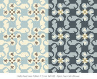 Retro Seamless Pattern 2 Color Set_088 Spiral Geometry Flower Royalty Free Stock Photos